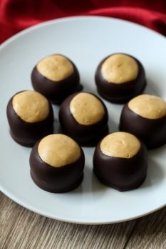 buckeyes on a christmas candy plate