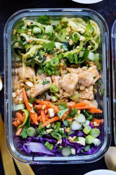 These Spiralized Pad Thai Chicken Meal Prep Bowls are a healthier, low-carb version of Thai takeout with spiralized zucchini, matchstick carrots, red cabbage and an easy sauce!