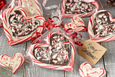 Peppermint Bark Candy Cane Hearts | From OhNuts.com