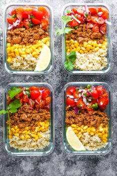 overhead view of four Turkey Taco Meal Prep Bowls